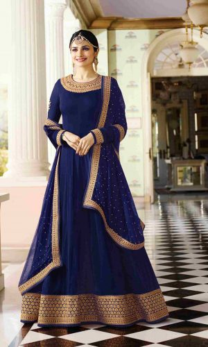 Attractive Navy Blue Anarkali Suit