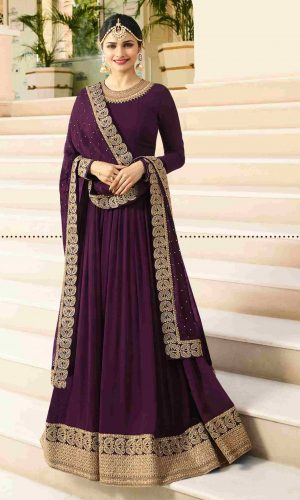 Stunning Purple Georgette Anarkali suit