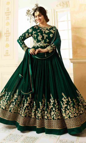 Traditional Wear Green Color Semi-Stitched Anarkali Suit