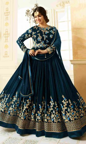 Traditional Wear Blue Color Semi-Stitched Anarkali Suit