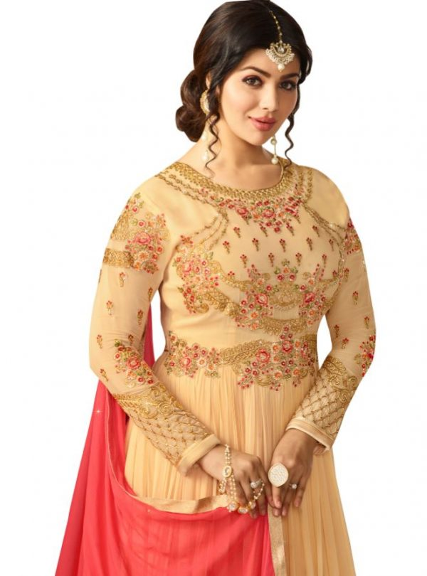 Designer Georgette Light Cream Anarkali Suit