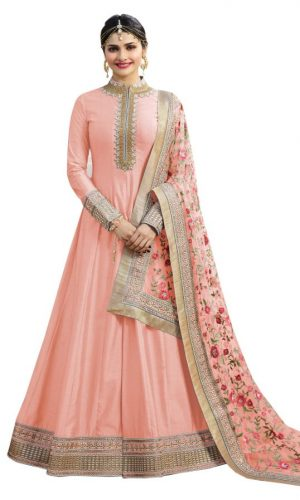 Light Pink Color Chennai Silk Anarkali Suit