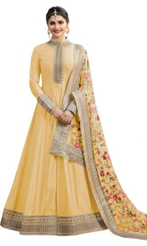 Yellow Color Chennai Silk Anarkali Suit
