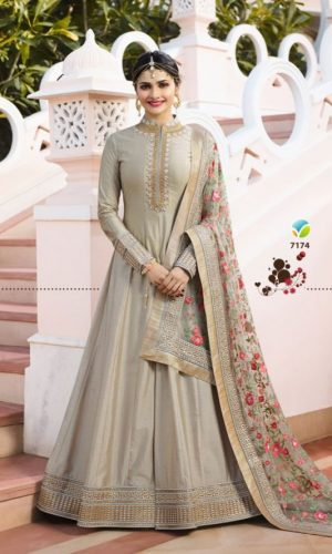 Beige Color Chennai Silk Anarkali Suit