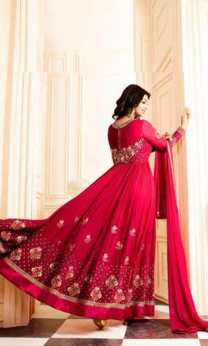Dark Pink Georgette Beautiful Suit