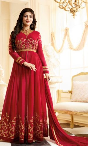 DiamDiamond Worked Pink Red Anarkali Suitond Worked Pink Anarkali Suit