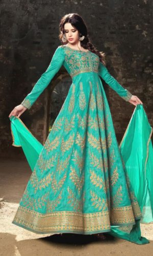 Wedding Wear Rama Colour Anarkali Dress
