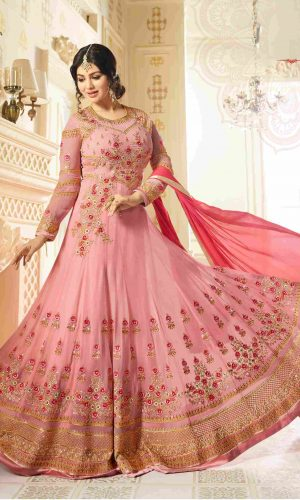 Fashionable Pink Color Faux Georgette Anarkali Suit