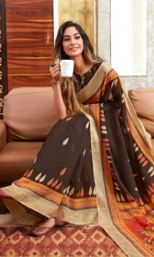 Brown Linen Silk Saree With Printed Blouse