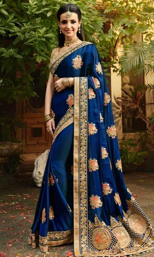 Navy Blue Jari and Border Worked Saree