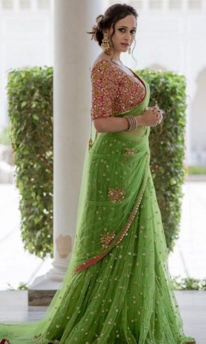 Embroidered Green Net Saree