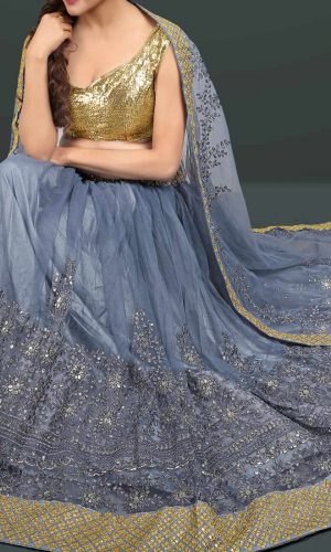 Embroidery Worked Gray Color lehenga Choli