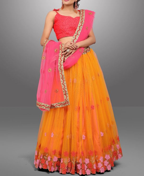 Flower Design Multi Color Net Lehenga