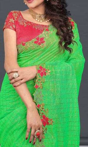 Green Nazneen Diamond Embroidered Saree