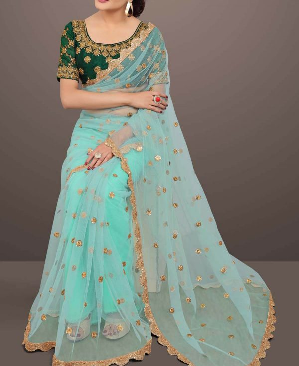 Beautiful Embroidered Sky Blue Net Saree