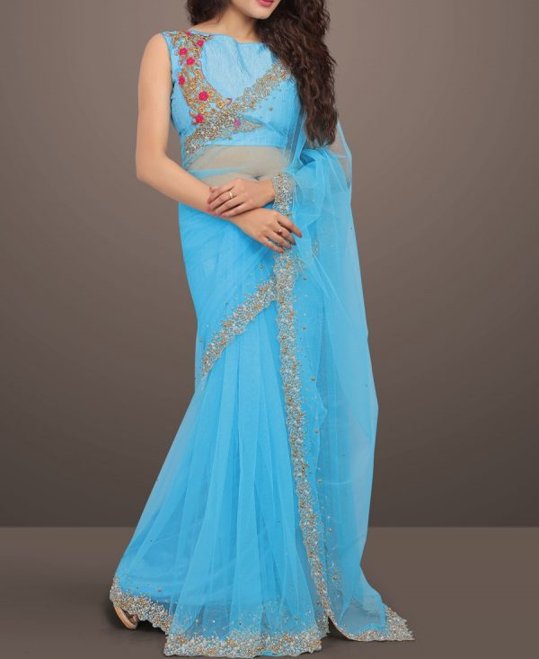 Gorgeous Sky Blue Diamond Work Net saree