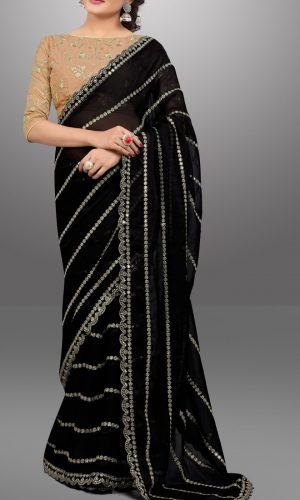sequence Worked black bemberg georgette saree