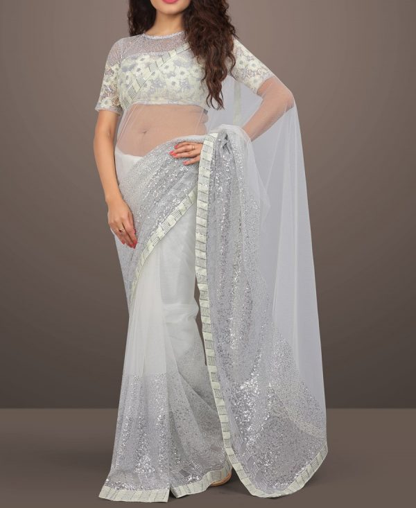 White Net Sequence Embroidered Saree
