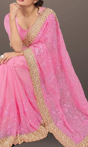 Light Pink Heavy Stone Worked Saree