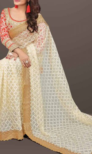 Beige Nylon Net Chain Stitch Saree