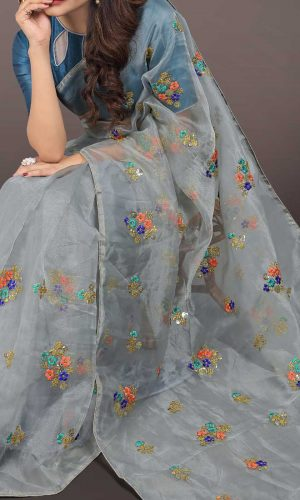 Organza Silk Flower Design Grey Saree