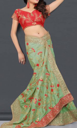 Vichitra Silk Paris Green Diamond Worked Saree