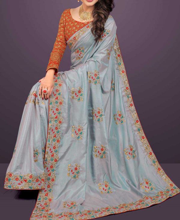Two Tone Sana Silk Silver Gray Saree