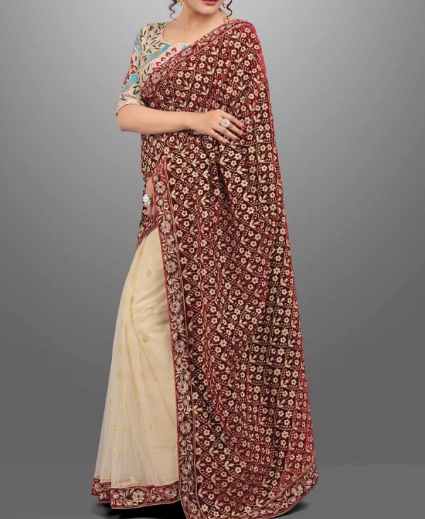 Glamorous Maroon and Beige Velvet & Net Embroidered Saree