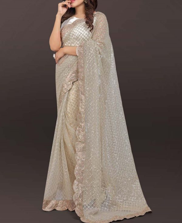 Off White Sequence Embroidered Saree