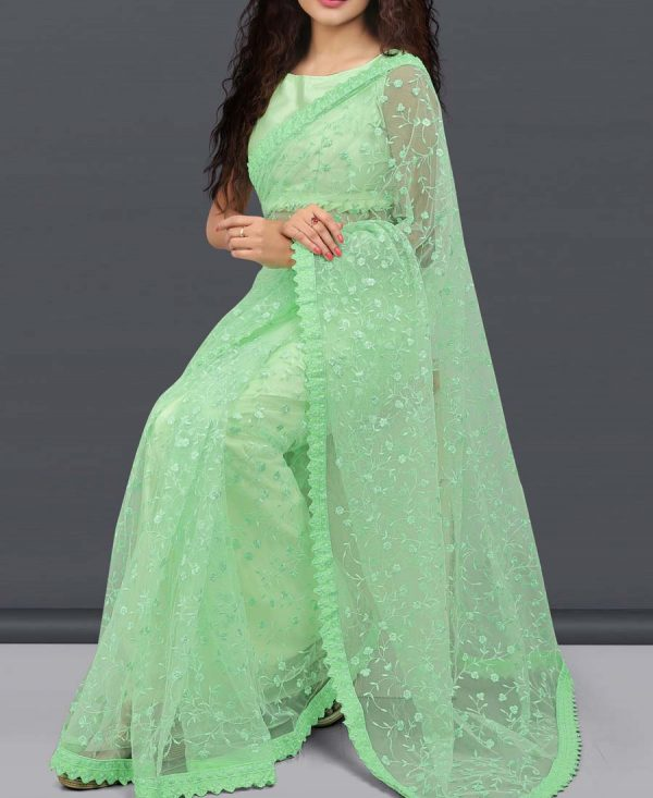 Net Embroidered Light Pista Color Saree