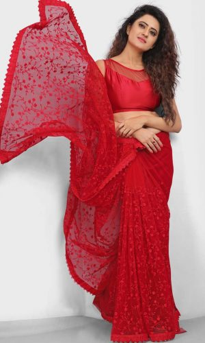 Bollywood Style Red Net Embroidered Saree