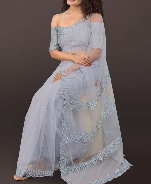 charming Gray Net Embroidered Saree