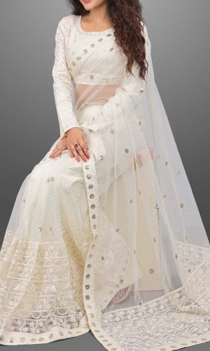 Stylish White Multi Thread Work Saree