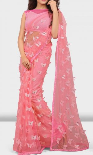 Butterfly Pink Net Stylish Saree