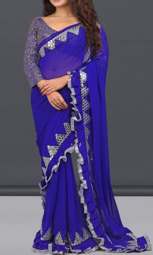 Graceful Blue Georgette Foil Mirror saree