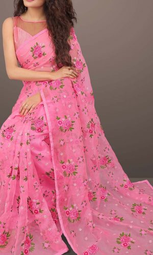Flower Designed Organza Silk Pink Saree