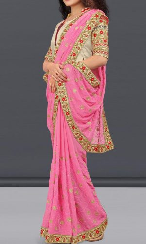 Pretty Nazneen Silk Pink Saree