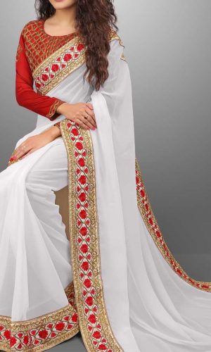 Attractive White Designer Georgette Saree