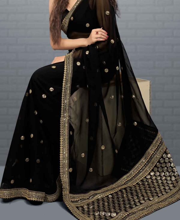 Black Georgette Sequence Work Beautiful Saree
