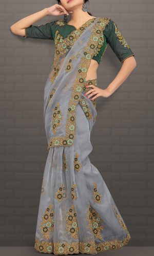 Stunning Silver Gray Embroidered Saree