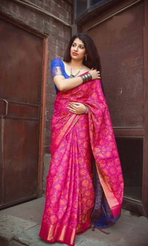 Ruby Pink Patola Silk Saree with Zari Weaving