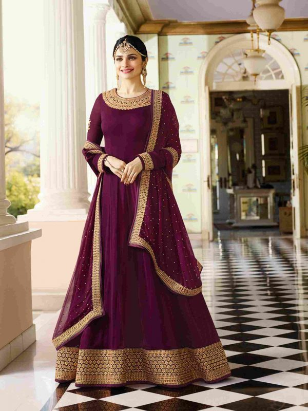 Attractive Majanta Anarkali Suit