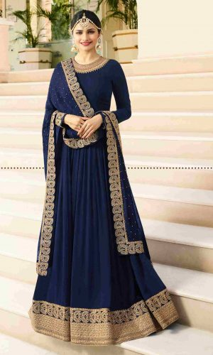 Stunning Navy Blue Georgette Anarkali suit