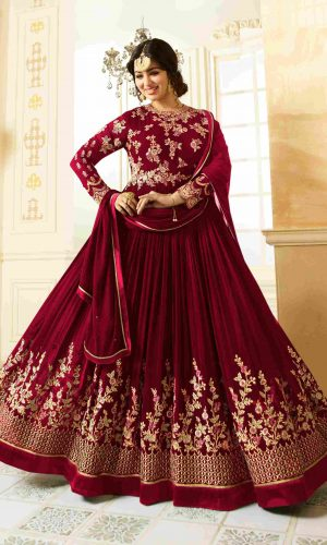 Traditional Wear Maroon Color Semi-Stitched Anarkali Suit