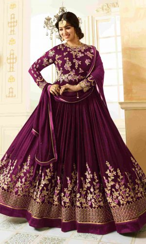 Traditional Wear Majanta Color Semi-Stitched Anarkali Suit