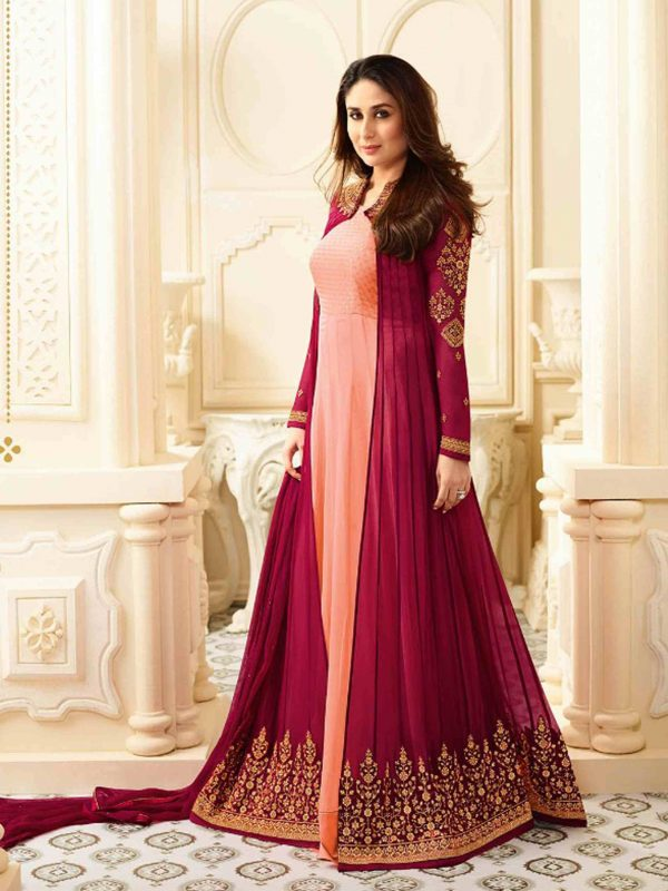 Trendy wedding Wear Pink Colour Georgette Anarkali Dress