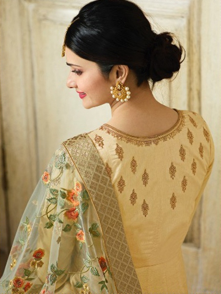 Traditional Party Wear Beige Color Embroidered Anarkali Suit