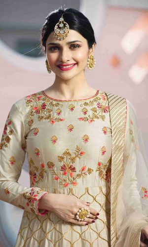Embroidered Beige Colored Partywear Anarkali Suit