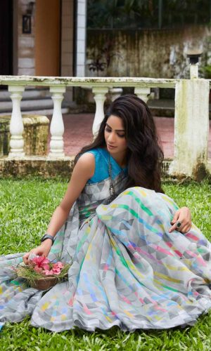 Sky Blue linen Silk Saree With Plain Blouse