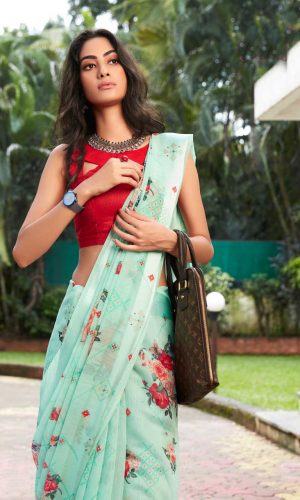 Sea Blue linen Silk Saree With Flower Design
